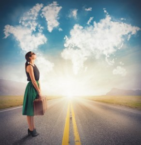 Woman sees in clouds her next destination